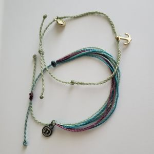 Pura Vida bracelet pair mint gold anchor